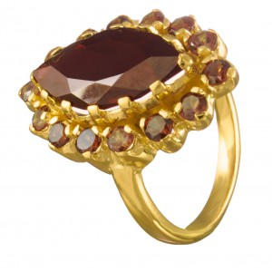marquise ring for women garnets and 18 carat gold 5 microns on silver