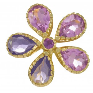 ladies ring iolite amethyst stones and 18 carat gold 5 microns on silver