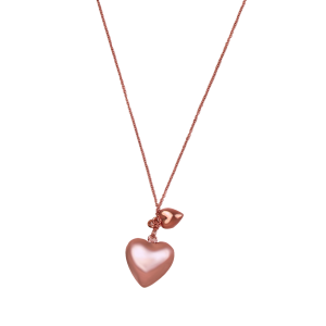 pendant necklace for women double hearts pink gold